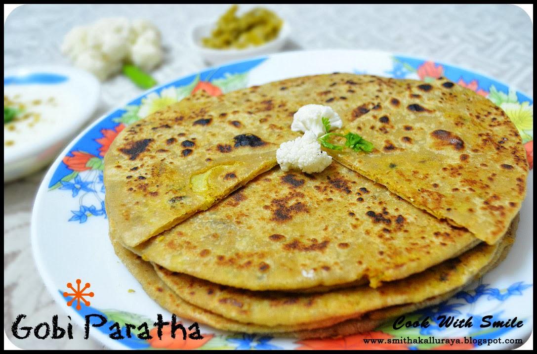 GOBI PARATHA / CAULIFLOWER STUFFED FLAT BREAD Recipe ...