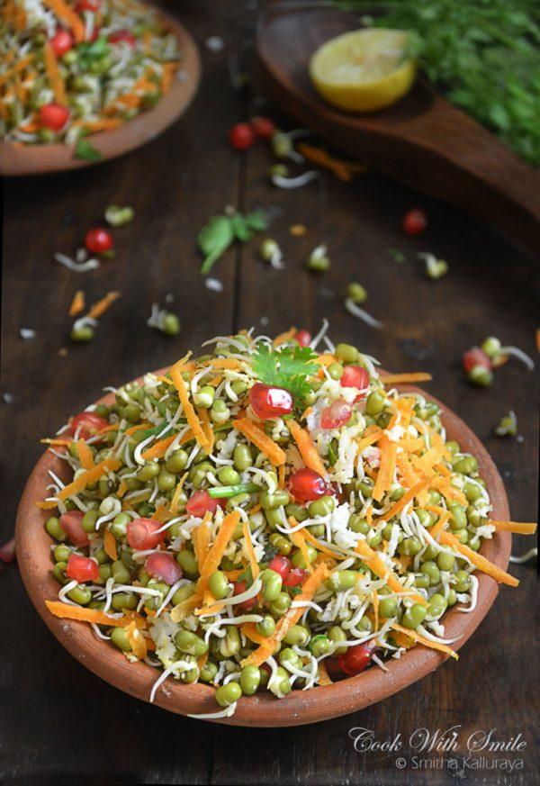 sprouted moong kosambari , sprouted moong salad