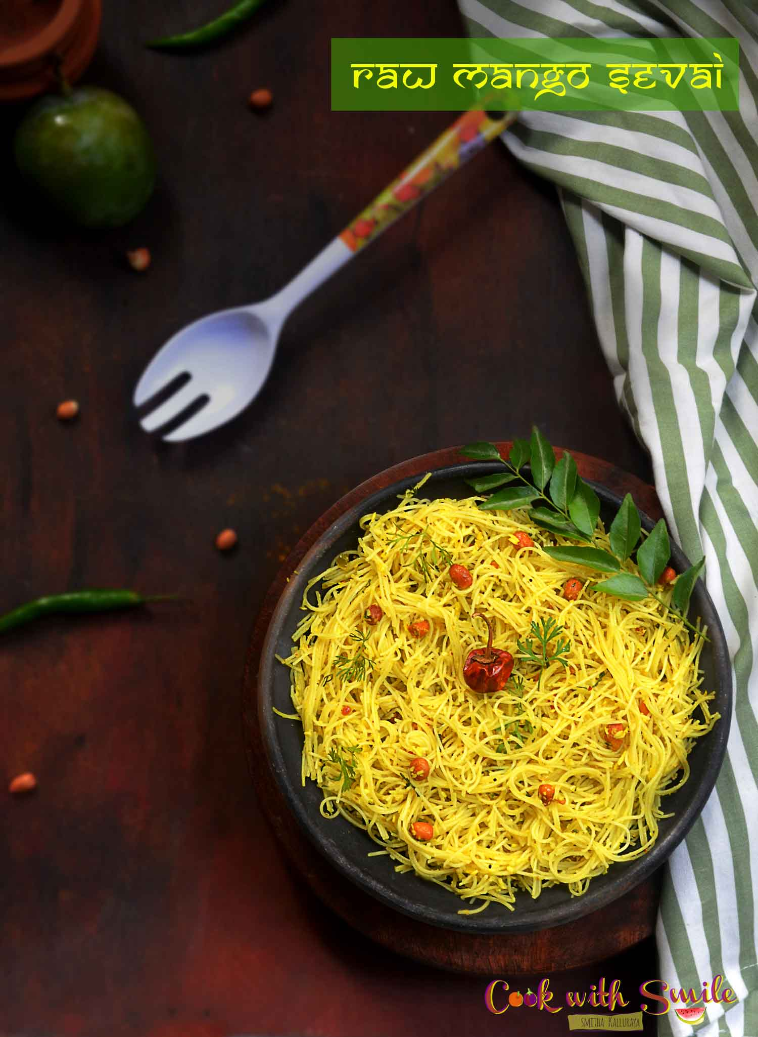 Raw Mango Sevai is very tasty ,tangy , quick and easy to make .