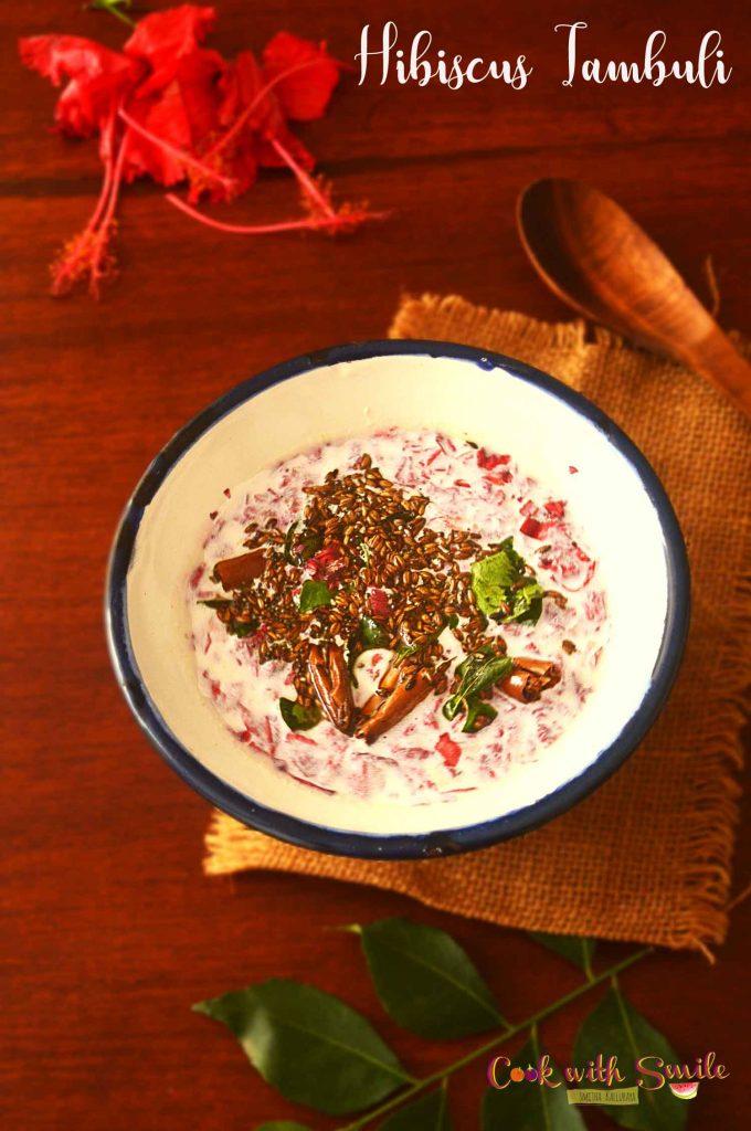 Hibiscus Tambuli / Dasavala Thambli  a healthy, tasty and easy coastal Karnataka dish which is relished with rice.
